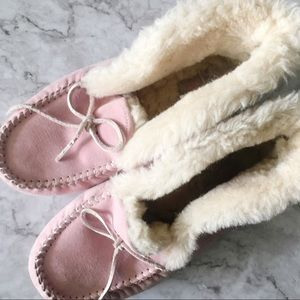 Ugg Alena Pink Suede Moccasin Slippers